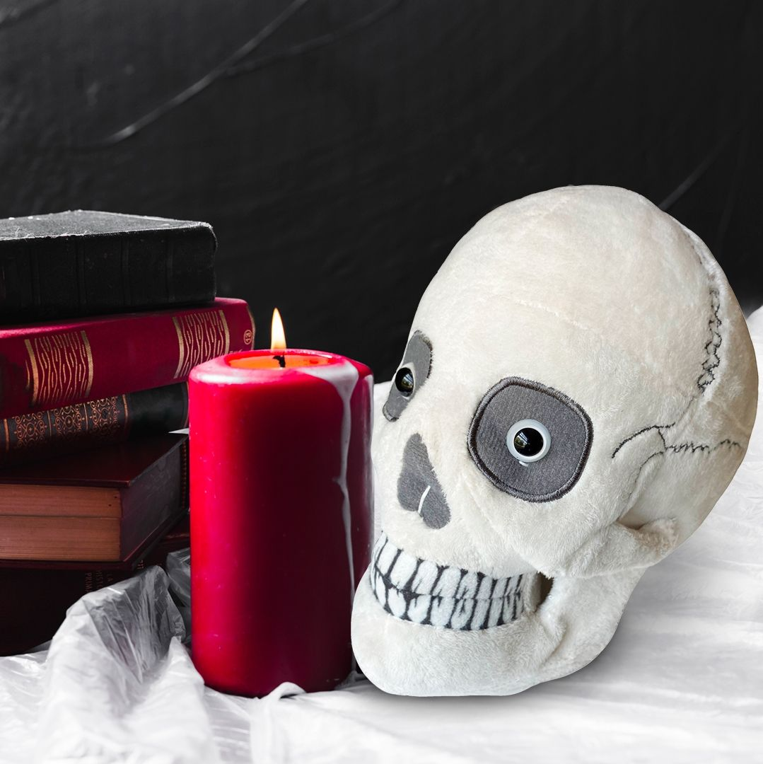 Skull plush with candle