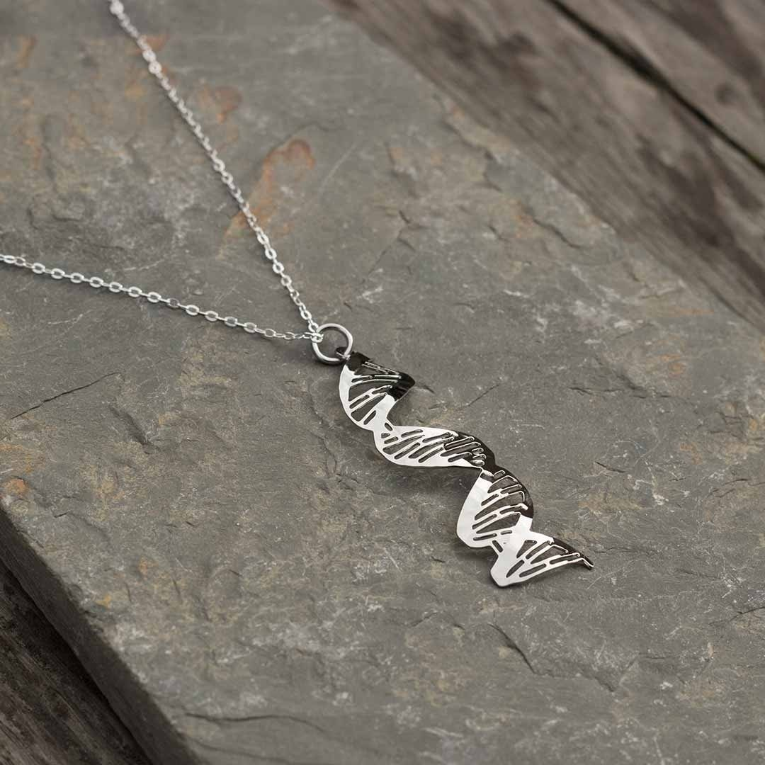 DNA rhodium necklace
