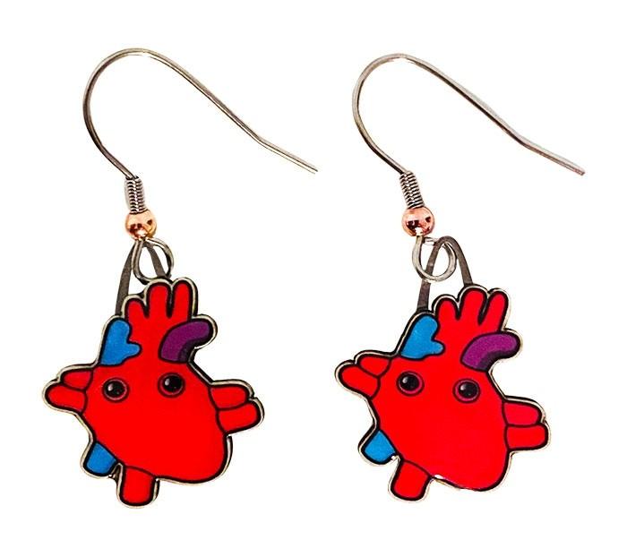 Heart earrings cardboard back