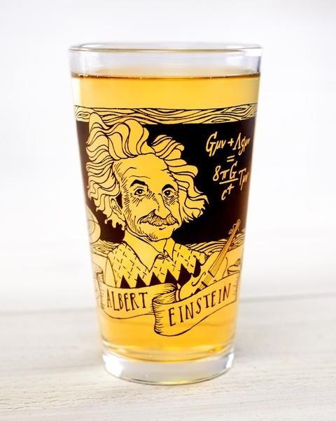 Einstein pint glass