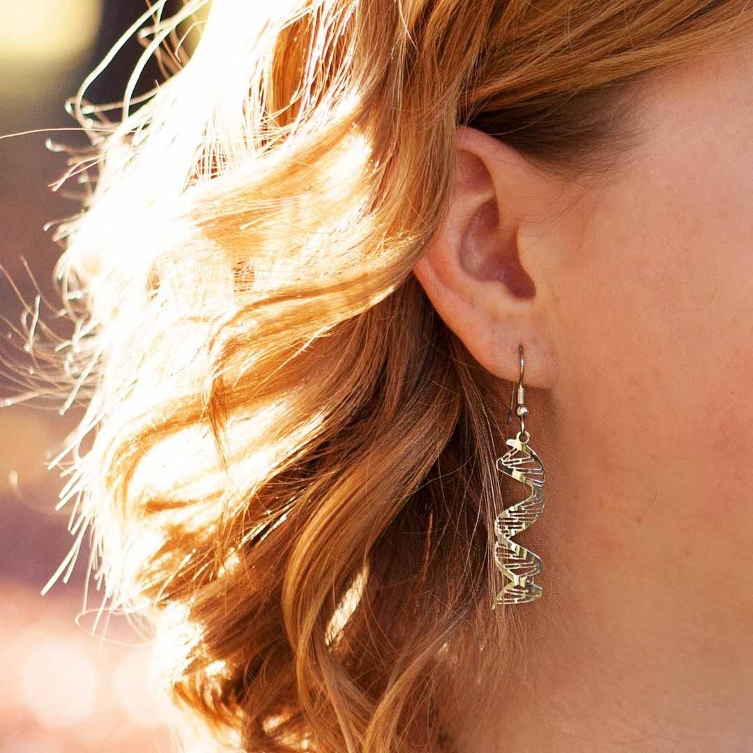 DNA rhodium earrings
