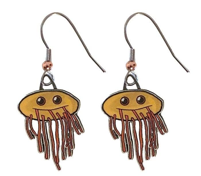 E. coli earrings cardboard back