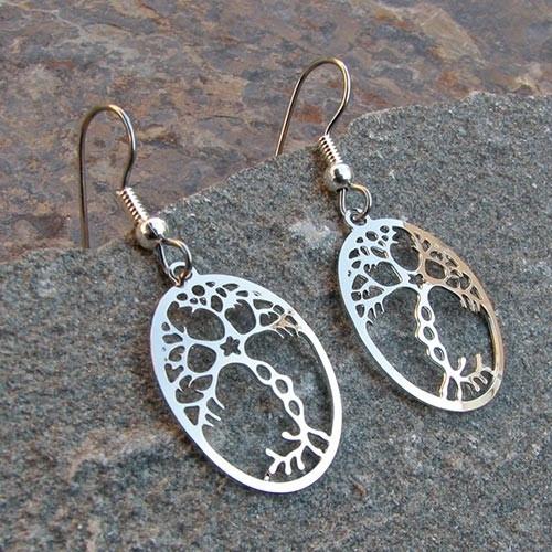 Neuron rhodium earrings