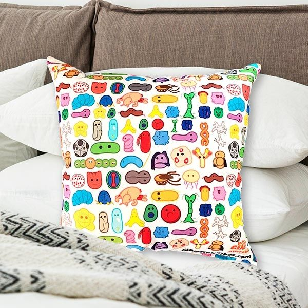 Art pillow in bed