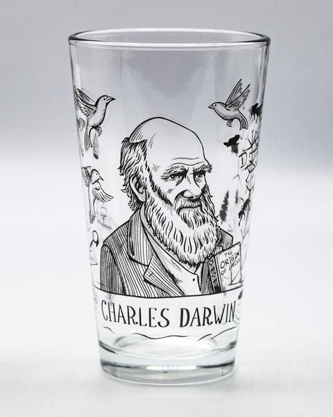 Darwin pint glass empty