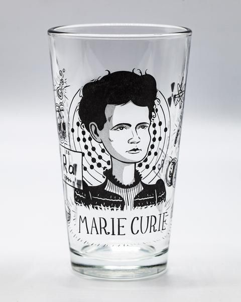 Marie Curie pint glass empty