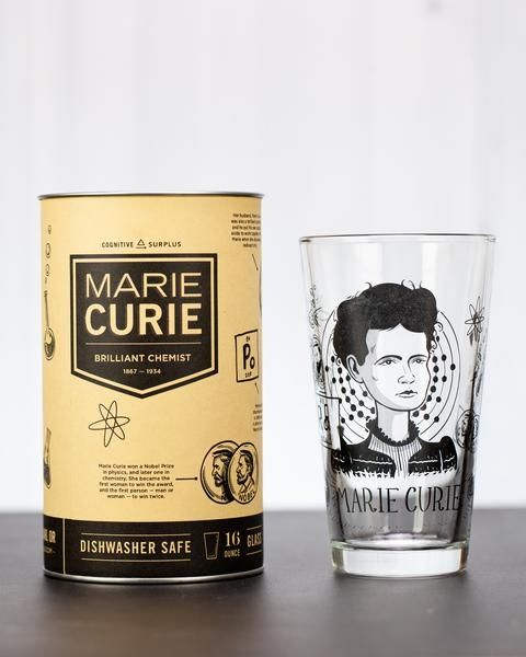 Marie Curie pint glass and box