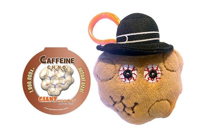 Caffeine plush key chain with tag
