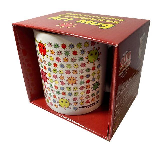 Coronavirus art mug box angled