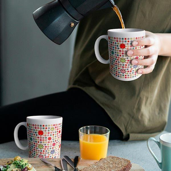 Coronavirus art mug coffee pour