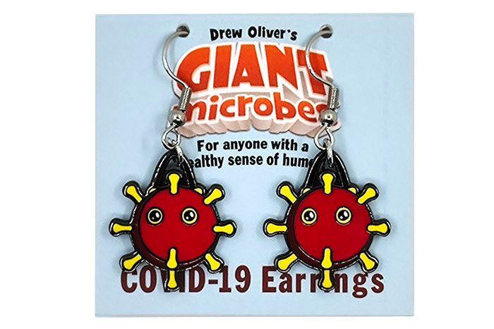 Coronavirus earrings on backing