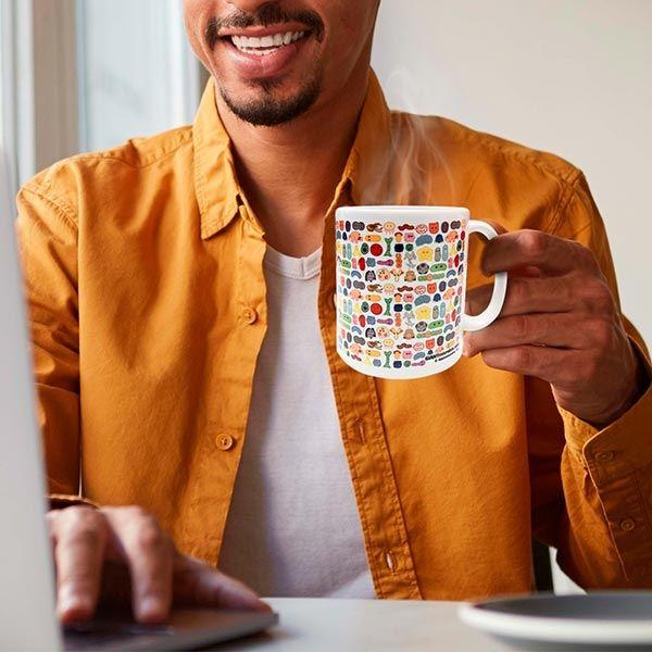 Microbes art mug with guy