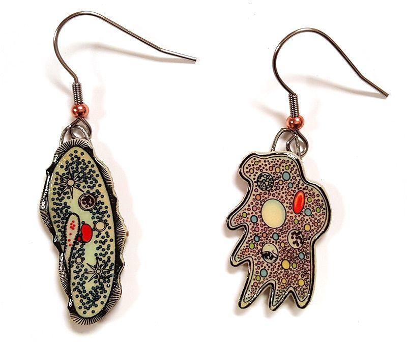 Paramecium Amoeba earrings close