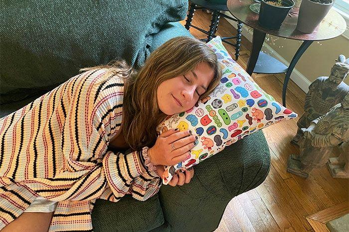 Microbes Art Pillow girl sleeping